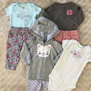 Carter's Baby Girl Outfit Bundle Floral Kitty Cat